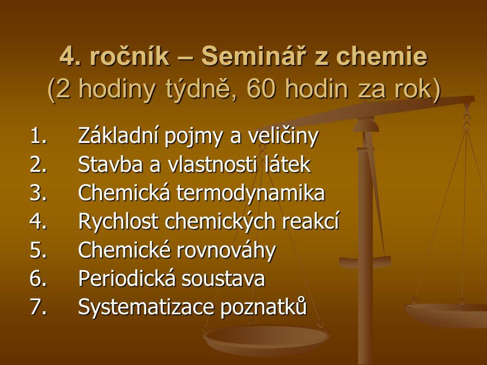 4. ročník – Seminář z chemie (2 hodiny týdně, 60 hodin za rok) 1.Základní pojmy a veličiny 2.Stavba a vlastnosti látek 3. Chemická termodynamika 4.Ryc