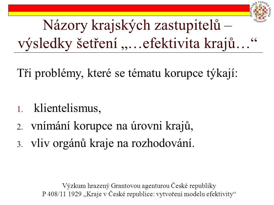 """Názory krajských zastupitelů – výsledky šetření """"…efektivita krajů… Tři problémy, které se tématu korupce týkají: 1."""