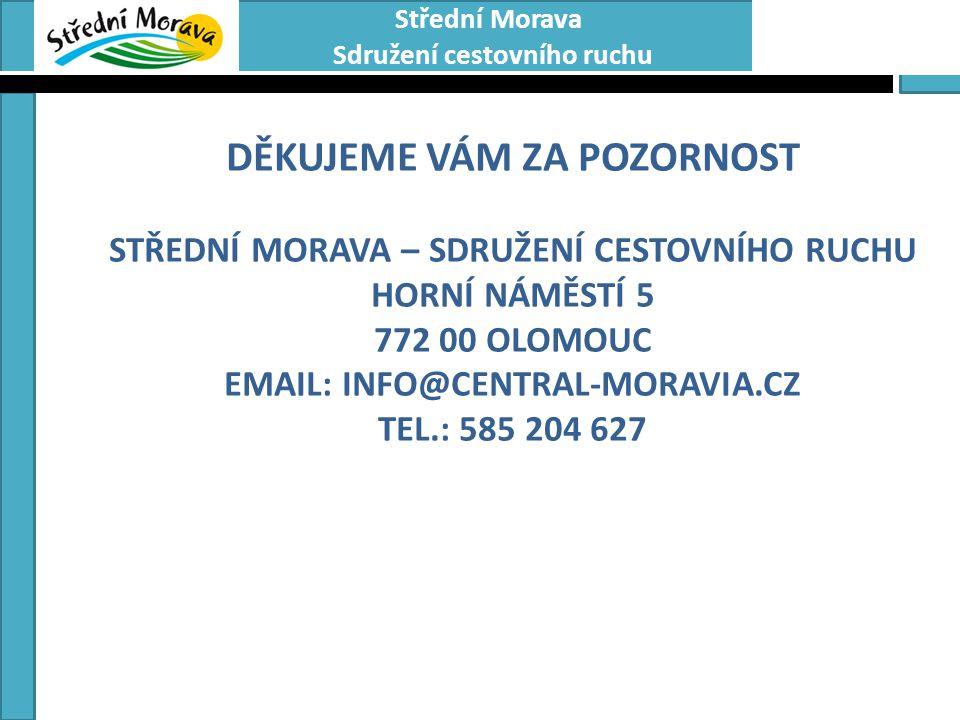 Střední Morava Sdružení cestovního ruchu DĚKUJEME VÁM ZA POZORNOST STŘEDNÍ MORAVA – SDRUŽENÍ CESTOVNÍHO RUCHU HORNÍ NÁMĚSTÍ 5 772 00 OLOMOUC EMAIL: INFO@CENTRAL-MORAVIA.CZ TEL.: 585 204 627