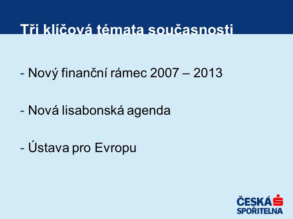 Tři klíčová témata současnosti - Nový finanční rámec 2007 – 2013 - Nová lisabonská agenda - Ústava pro Evropu