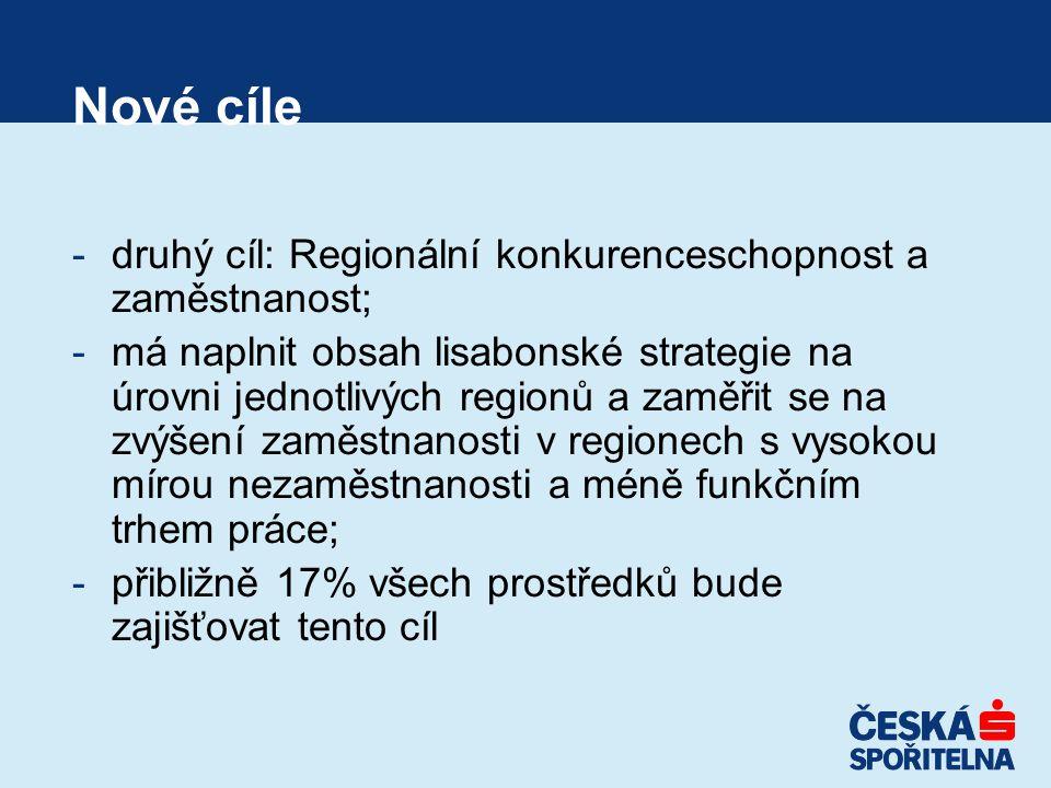 Nové cíle -druhý cíl: Regionální konkurenceschopnost a zaměstnanost; -má naplnit obsah lisabonské strategie na úrovni jednotlivých regionů a zaměřit se na zvýšení zaměstnanosti v regionech s vysokou mírou nezaměstnanosti a méně funkčním trhem práce; -přibližně 17% všech prostředků bude zajišťovat tento cíl