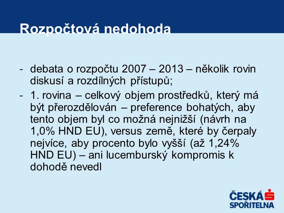 Rozpočtová nedohoda -debata o rozpočtu 2007 – 2013 – několik rovin diskusí a rozdílných přístupů; -1.