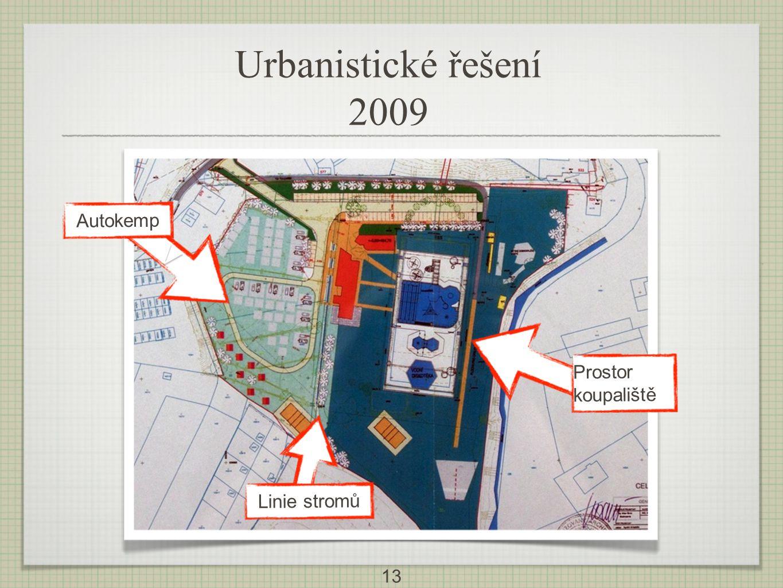13 V Autokemp Linie stromů Prostor koupaliště Urbanistické řešení 2009