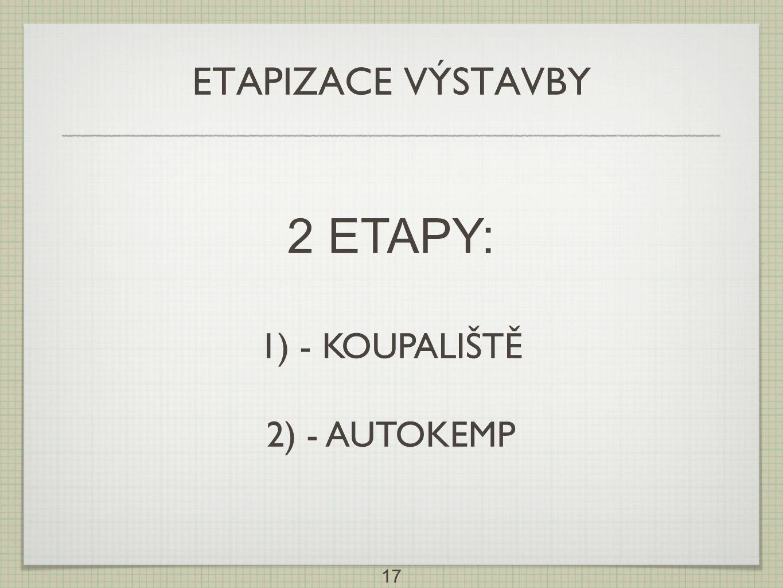 17 ETAPIZACE VÝSTAVBY 2 ETAPY: 1) - KOUPALIŠTĚ 2) - AUTOKEMP