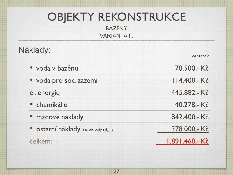 27 Náklady: cena/rok • voda v bazénu70.500,- Kč • voda pro soc. zázemí114.400,- Kč el. energie445.882,- Kč • chemikálie40.278,- Kč • mzdové náklady842