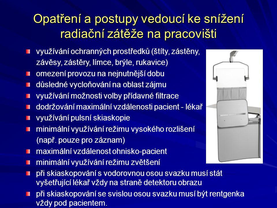 Opatření a postupy vedoucí ke snížení radiační zátěže na pracovišti využívání ochranných prostředků (štíty, zástěny, závěsy, zástěry, límce, brýle, ru