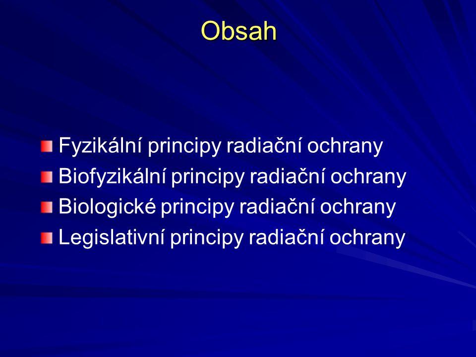 Obsah Fyzikální principy radiační ochrany Biofyzikální principy radiační ochrany Biologické principy radiační ochrany Legislativní principy radiační o