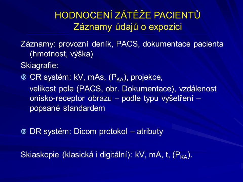 HODNOCENÍ ZÁTĚŽE PACIENTŮ Záznamy údajů o expozici Záznamy: provozní deník, PACS, dokumentace pacienta (hmotnost, výška) Skiagrafie:   CR systém: kV