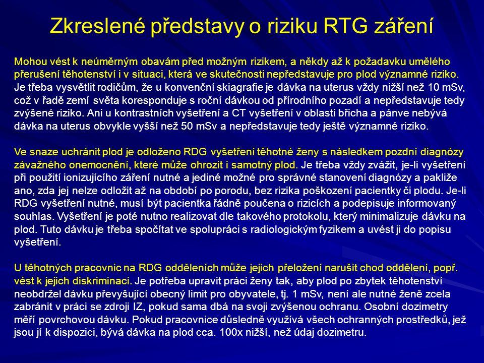 Zkreslené představy o riziku RTG záření Mohou vést k neúměrným obavám před možným rizikem, a někdy až k požadavku umělého přerušení těhotenství i v si
