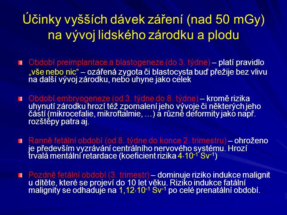 """Účinky vyšších dávek záření (nad 50 mGy) na vývoj lidského zárodku a plodu Období preimplantace a blastogeneze (do 3. týdne) – platí pravidlo """"vše neb"""