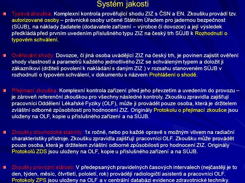Systém jakosti Typová zkouška: Komplexní kontrola prověřující shodu ZIZ s ČSN a EN. Zkoušku provádí tzv. autorizované osoby – právnické osoby určené S