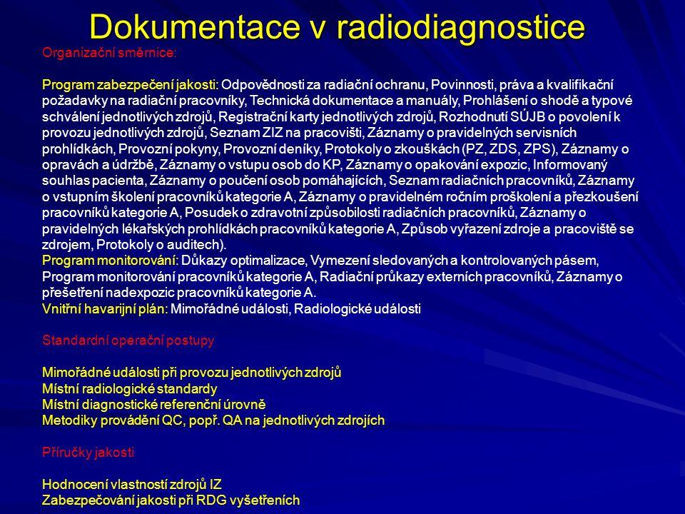 Dokumentace v radiodiagnostice Organizační směrnice: Program zabezpečení jakosti: Odpovědnosti za radiační ochranu, Povinnosti, práva a kvalifikační p