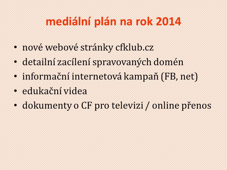 mediální plán na rok 2014 • nové webové stránky cfklub.cz • detailní zacílení spravovaných domén • informační internetová kampaň (FB, net) • edukační videa • dokumenty o CF pro televizi / online přenos