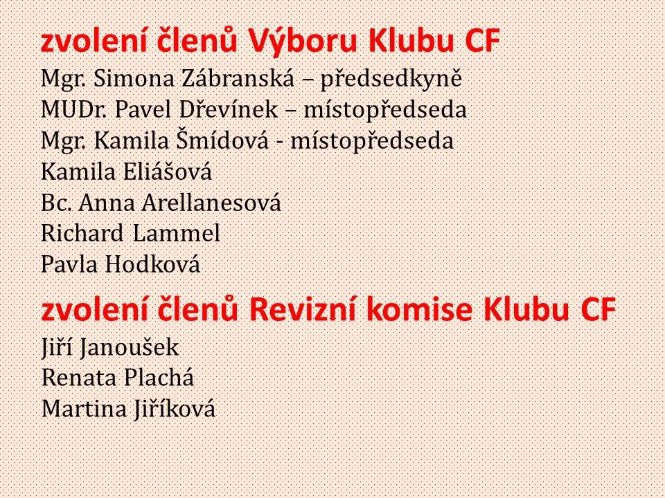 zvolení členů Výboru Klubu CF Mgr.Simona Zábranská – předsedkyně MUDr.