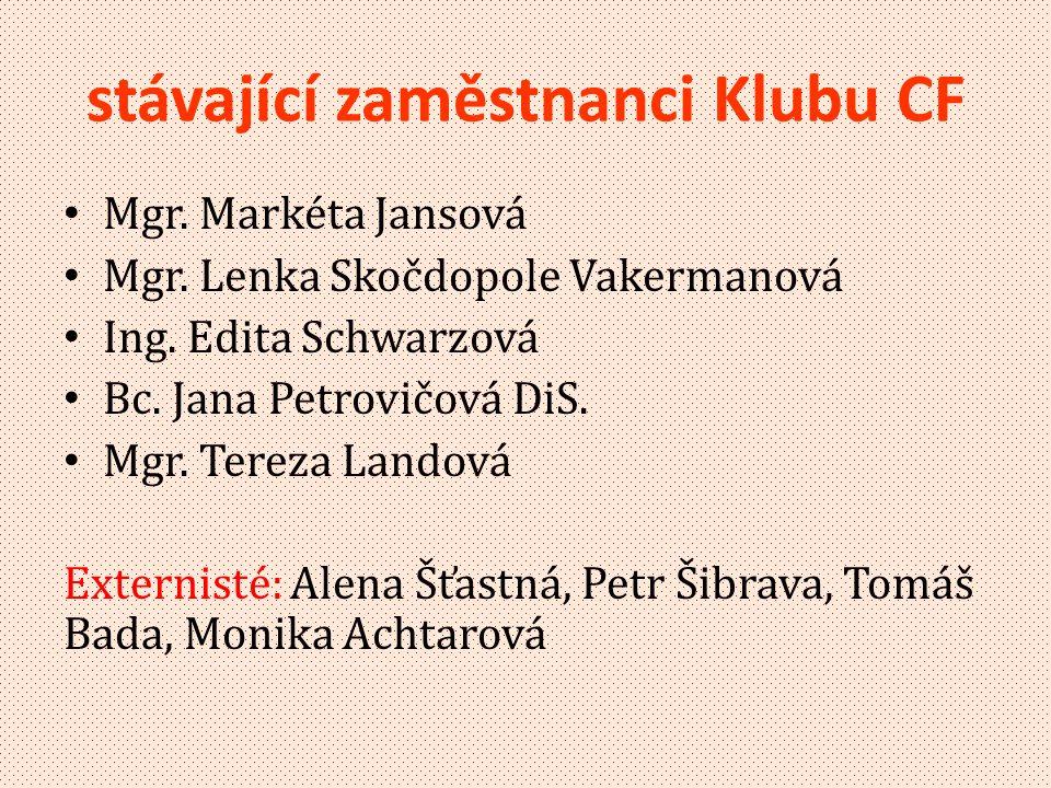 stávající zaměstnanci Klubu CF • Mgr.Markéta Jansová • Mgr.