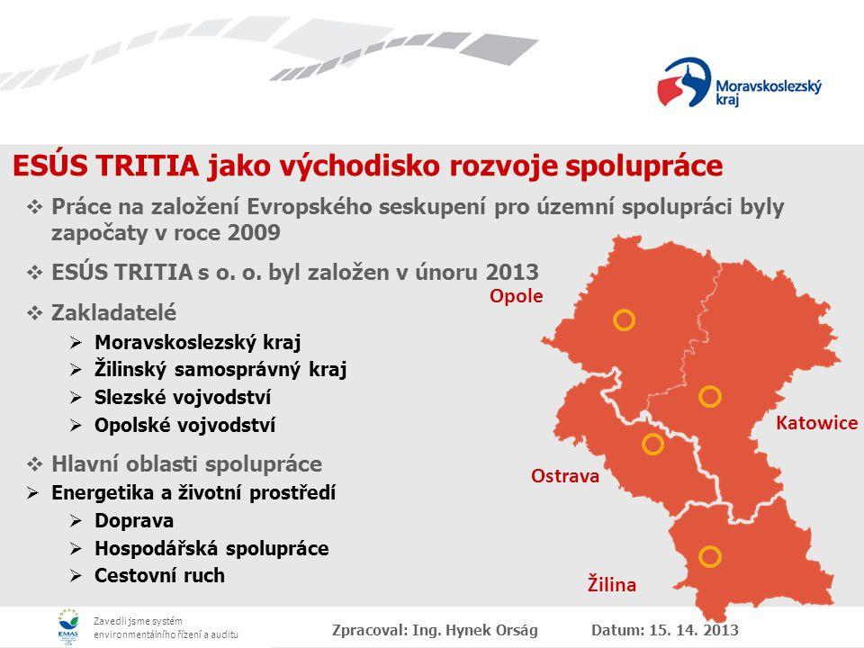 Zavedli jsme systém environmentálního řízení a auditu Priority Moravskoslezského kraje na poli přeshraniční spolupráce  Usnadnění každodenního života občanů v česko-polsko-slovenském území  Vytvoření přeshraniční integrity na úrovni celého prostoru  Identifikace, propagace a zavádění programů, projektů a společných akcí na území ESÚS TRITIA ve čtyřech uvedených tematických oblastech ZAKOTVENO V ZAKLÁDAJÍCÍCH LISTINÁCH ESÚS TRITIA Zpracoval: Ing.