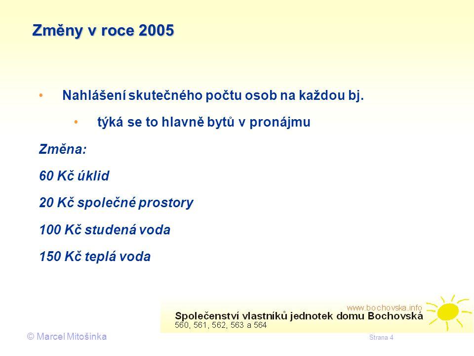 © Marcel Mitošinka Strana 4 Změny v roce 2005 • •Nahlášení skutečného počtu osob na každou bj. • •týká se to hlavně bytů v pronájmu Změna: 60 Kč úklid