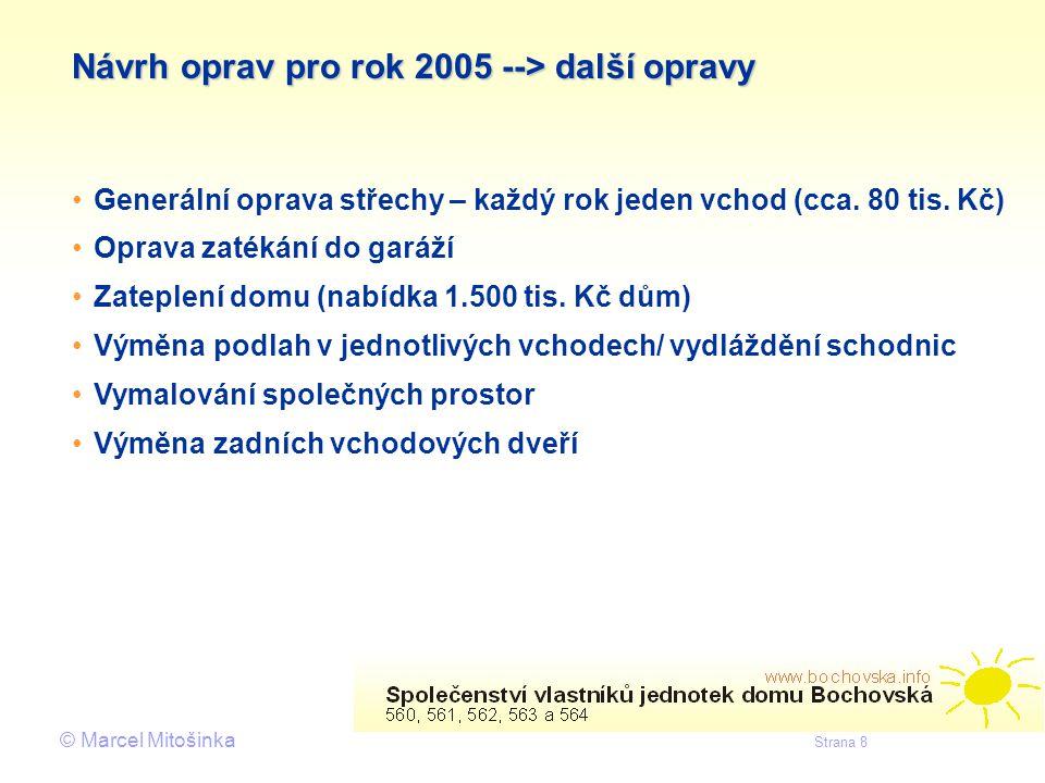 © Marcel Mitošinka Strana 8 Návrh oprav pro rok 2005 --> další opravy • •Generální oprava střechy – každý rok jeden vchod (cca. 80 tis. Kč) • •Oprava
