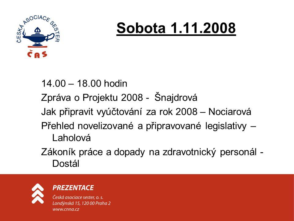Sobota 1.11.2008 14.00 – 18.00 hodin Zpráva o Projektu 2008 - Šnajdrová Jak připravit vyúčtování za rok 2008 – Nociarová Přehled novelizované a připra