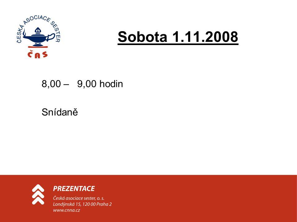 Sobota 1.11.2008 9.00 – 10.00 hodin •Zprávy z účasti na mezinárodních konferencích - Moravcová •Zpráva o činnosti mezinárodních organizací - Pavlicová •Zpráva z konference WENR - DiCara