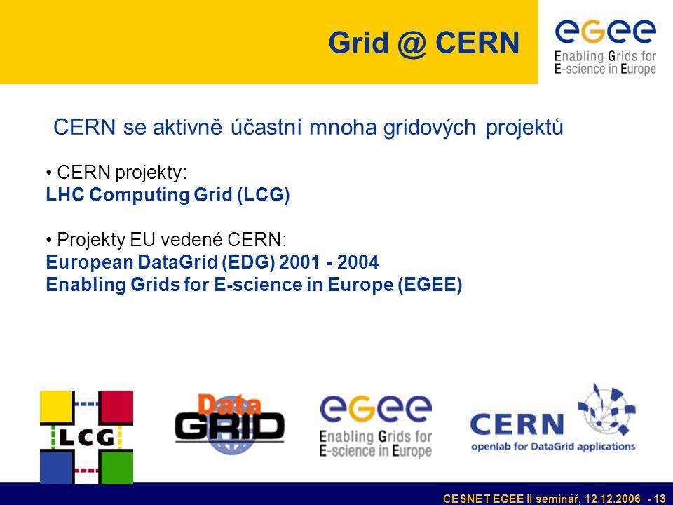CESNET EGEE II seminář, 12.12.2006 - 13 • CERN projekty: LHC Computing Grid (LCG) • Projekty EU vedené CERN: European DataGrid (EDG) 2001 - 2004 Enabling Grids for E-science in Europe (EGEE) CERN se aktivně účastní mnoha gridových projektů Grid @ CERN