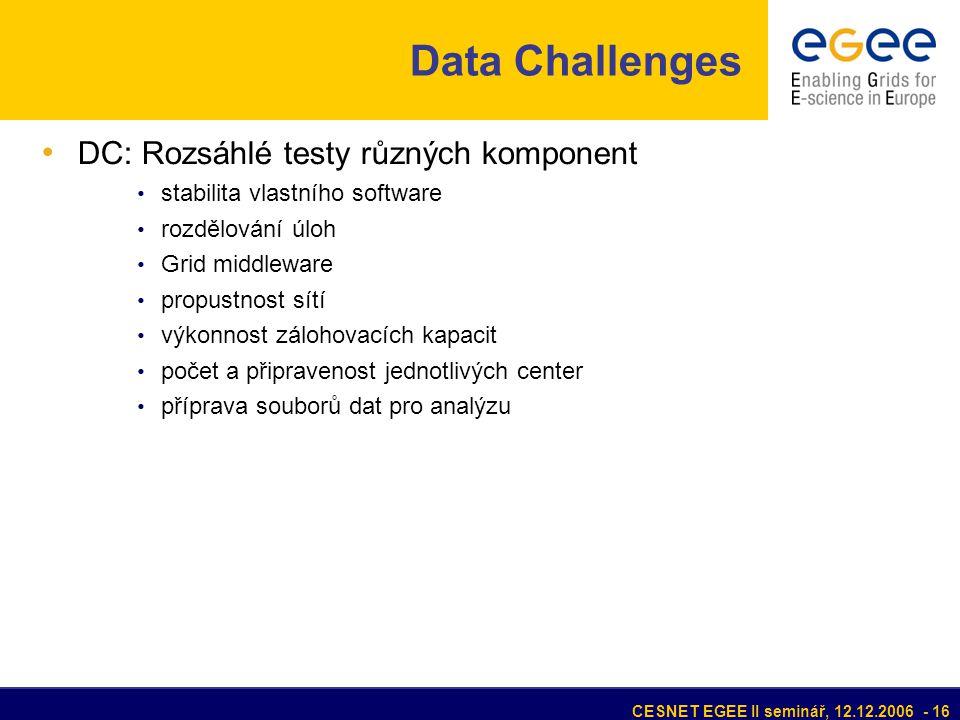 CESNET EGEE II seminář, 12.12.2006 - 16 Data Challenges • DC: Rozsáhlé testy různých komponent • stabilita vlastního software • rozdělování úloh • Grid middleware • propustnost sítí • výkonnost zálohovacích kapacit • počet a připravenost jednotlivých center • příprava souborů dat pro analýzu