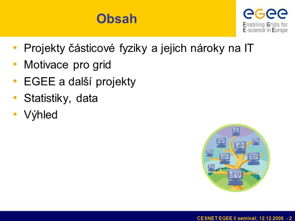 CESNET EGEE II seminář, 12.12.2006 - 2 Obsah • Projekty částicové fyziky a jejich nároky na IT • Motivace pro grid • EGEE a další projekty • Statistiky, data • Výhled