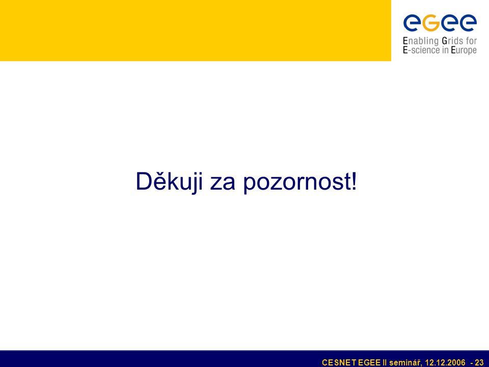 CESNET EGEE II seminář, 12.12.2006 - 23 Děkuji za pozornost!