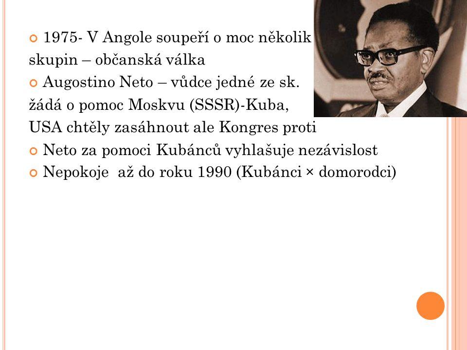 M OZAMBIK 1964 první boje Portugalců s jednotkami Osvobozenecké fronty (1962) Salazar – rychlé ukončení bojů – ne jako v Angole mezinárodní konflikt.