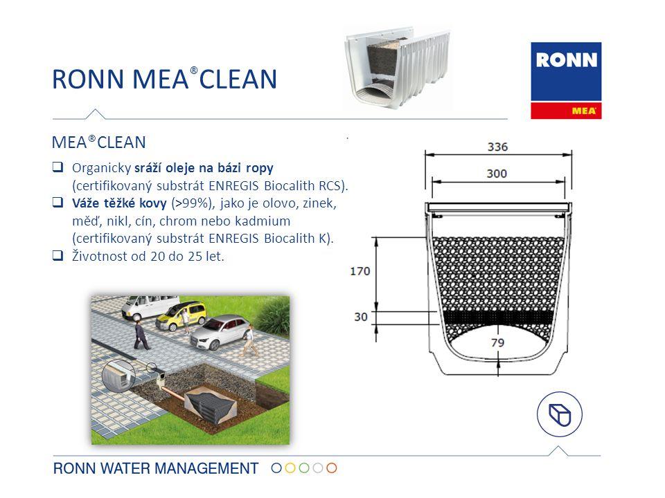 RONN MEA ® CLEAN  Organicky sráží oleje na bázi ropy (certifikovaný substrát ENREGIS Biocalith RCS).  Váže těžké kovy (>99%), jako je olovo, zinek,