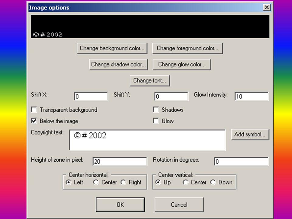 Vodoznak Programy: • Image Tuner • Easy Batch Watermark 3.5 • WaterMark v2 • Watermark Factory • Visual Watermark 2.9.30c On-line nástroje • http://picmarkr.com/ http://picmarkr.com/