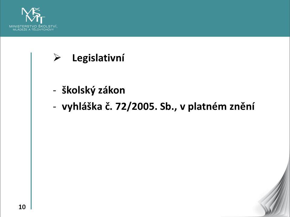 10  Legislativní -školský zákon -vyhláška č. 72/2005. Sb., v platném znění