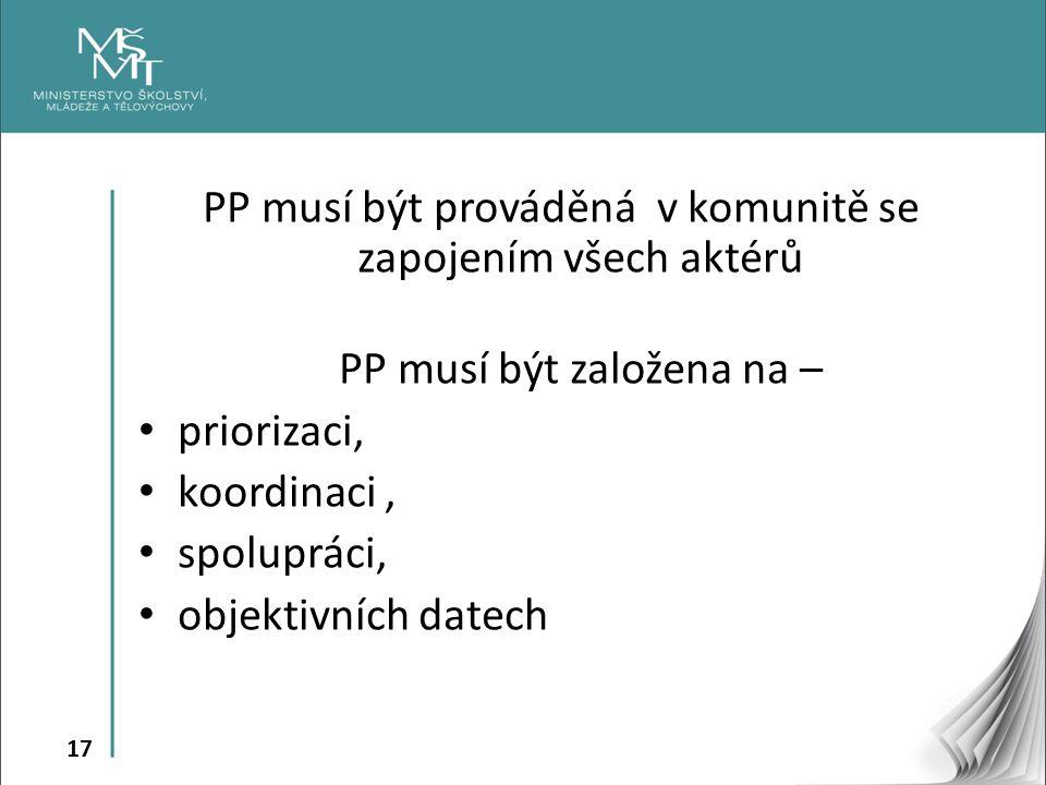 17 PP musí být prováděná v komunitě se zapojením všech aktérů PP musí být založena na – • priorizaci, • koordinaci, • spolupráci, • objektivních datec