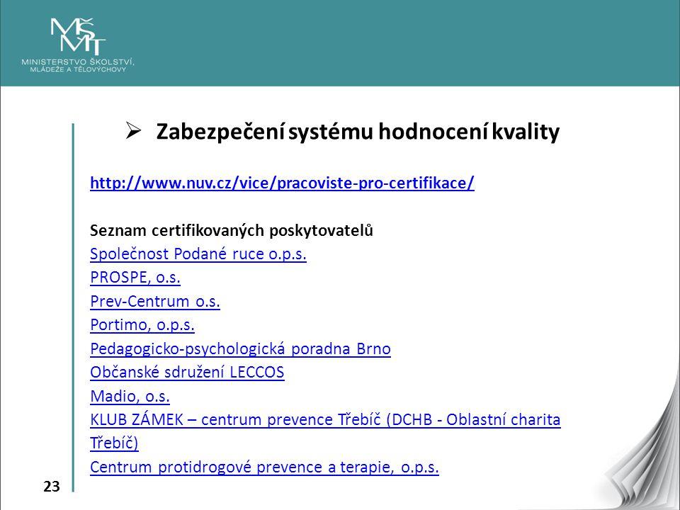 23  Zabezpečení systému hodnocení kvality http://www.nuv.cz/vice/pracoviste-pro-certifikace/ Seznam certifikovaných poskytovatelů Společnost Podané r