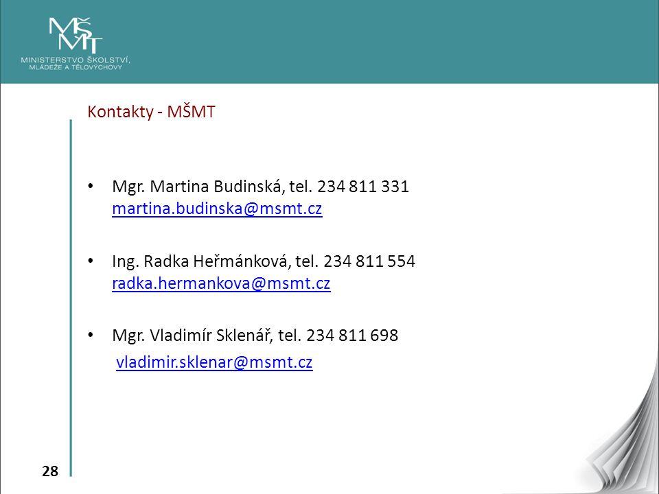 28 Kontakty - MŠMT • Mgr. Martina Budinská, tel. 234 811 331 martina.budinska@msmt.cz martina.budinska@msmt.cz • Ing. Radka Heřmánková, tel. 234 811 5
