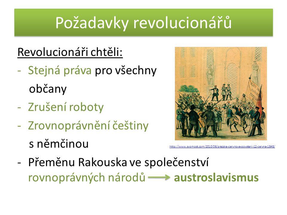 Požadavky revolucionářů Revolucionáři chtěli: -Stejná práva pro všechny občany -Zrušení roboty -Zrovnoprávnění češtiny s němčinou http://www.svornost.