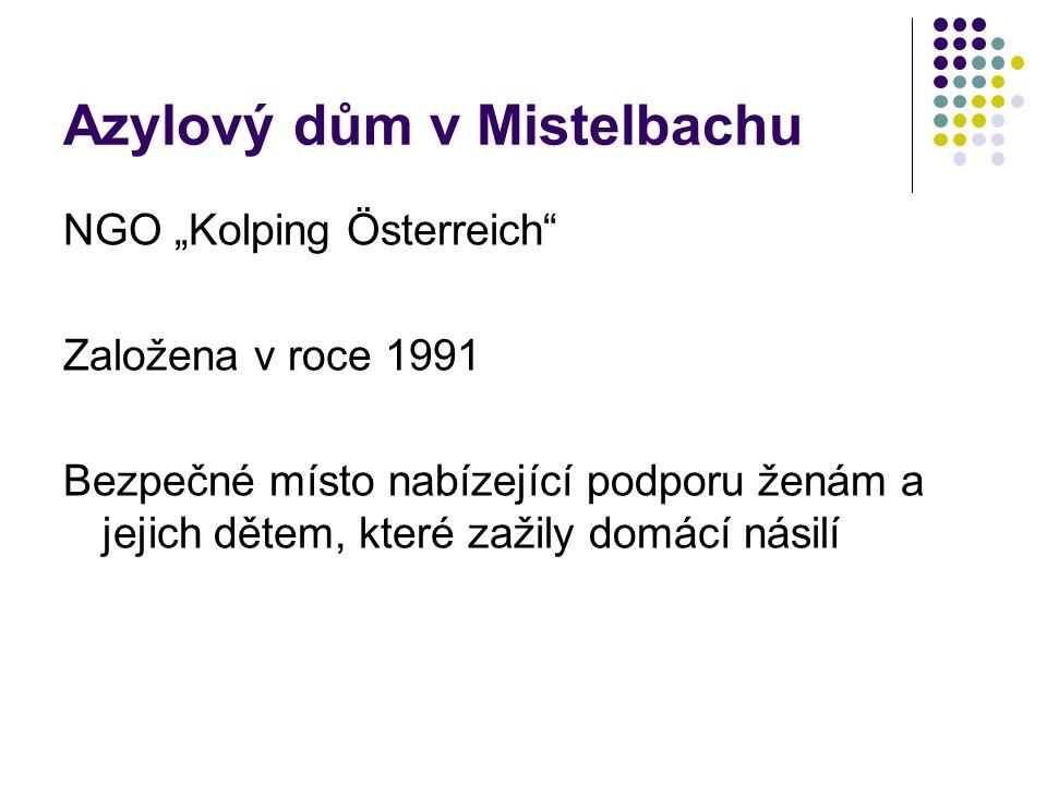 """Azylový dům v Mistelbachu NGO """"Kolping Österreich Založena v roce 1991 Bezpečné místo nabízející podporu ženám a jejich dětem, které zažily domácí násilí"""