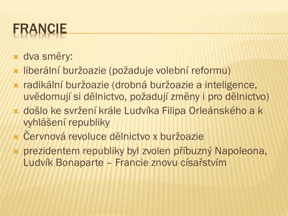  dva směry:  liberální buržoazie (požaduje volební reformu)  radikální buržoazie (drobná buržoazie a inteligence, uvědomují si dělnictvo, požadují