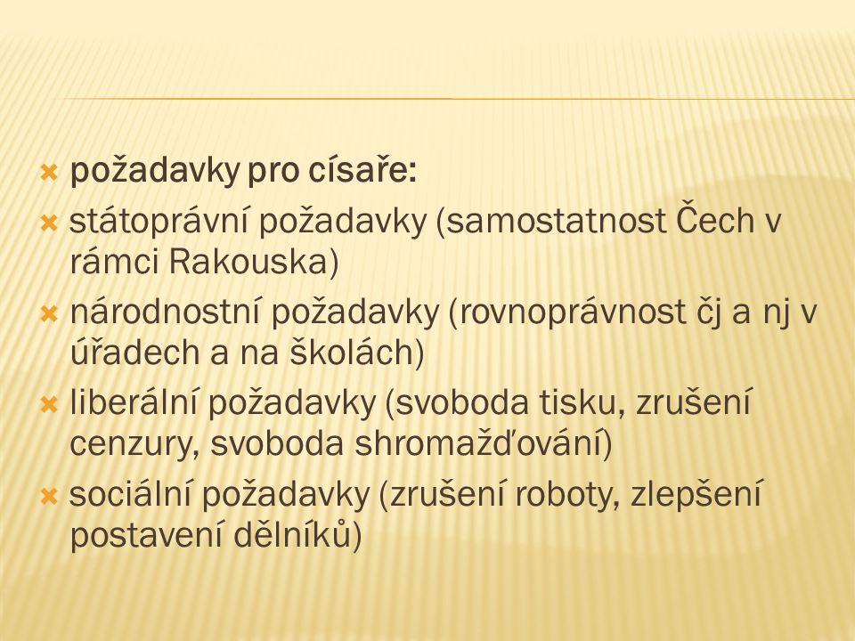  požadavky pro císaře:  státoprávní požadavky (samostatnost Čech v rámci Rakouska)  národnostní požadavky (rovnoprávnost čj a nj v úřadech a na ško