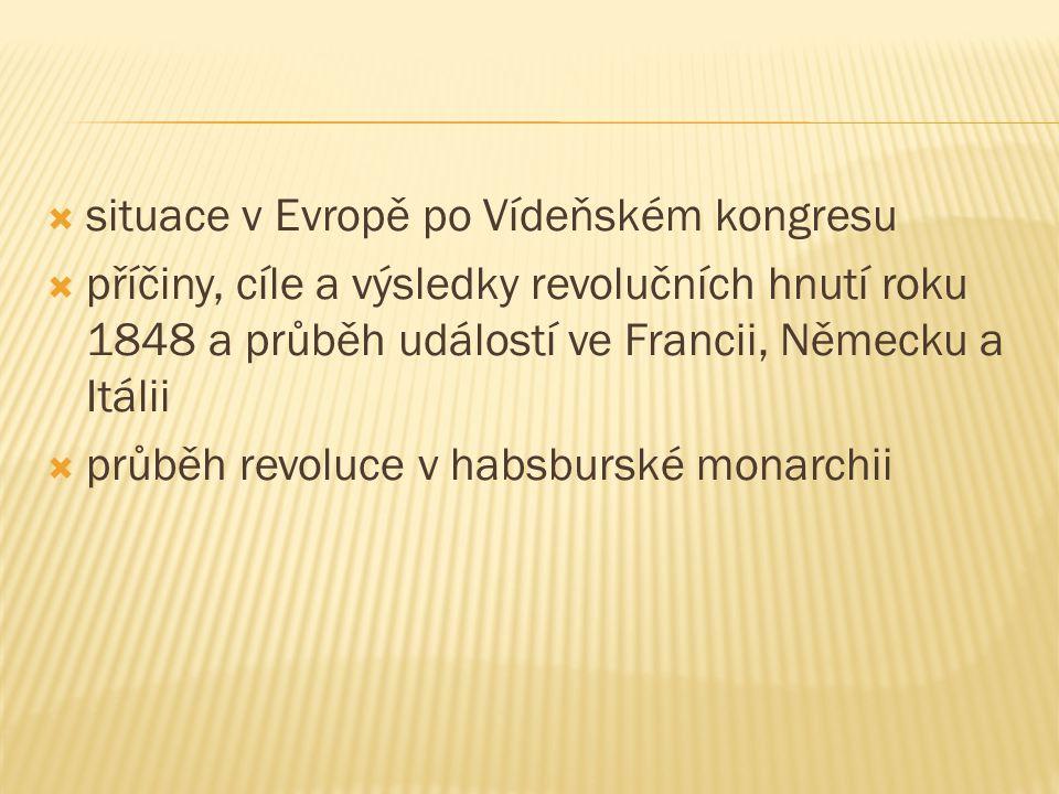  situace v Evropě po Vídeňském kongresu  příčiny, cíle a výsledky revolučních hnutí roku 1848 a průběh událostí ve Francii, Německu a Itálii  průbě