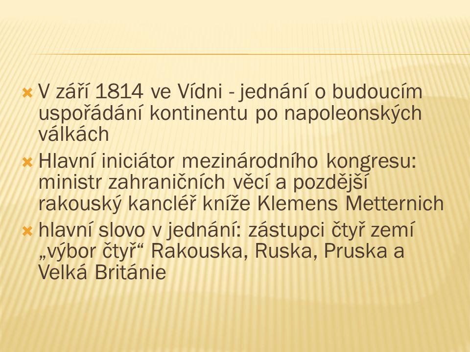  V září 1814 ve Vídni - jednání o budoucím uspořádání kontinentu po napoleonských válkách  Hlavní iniciátor mezinárodního kongresu: ministr zahranič