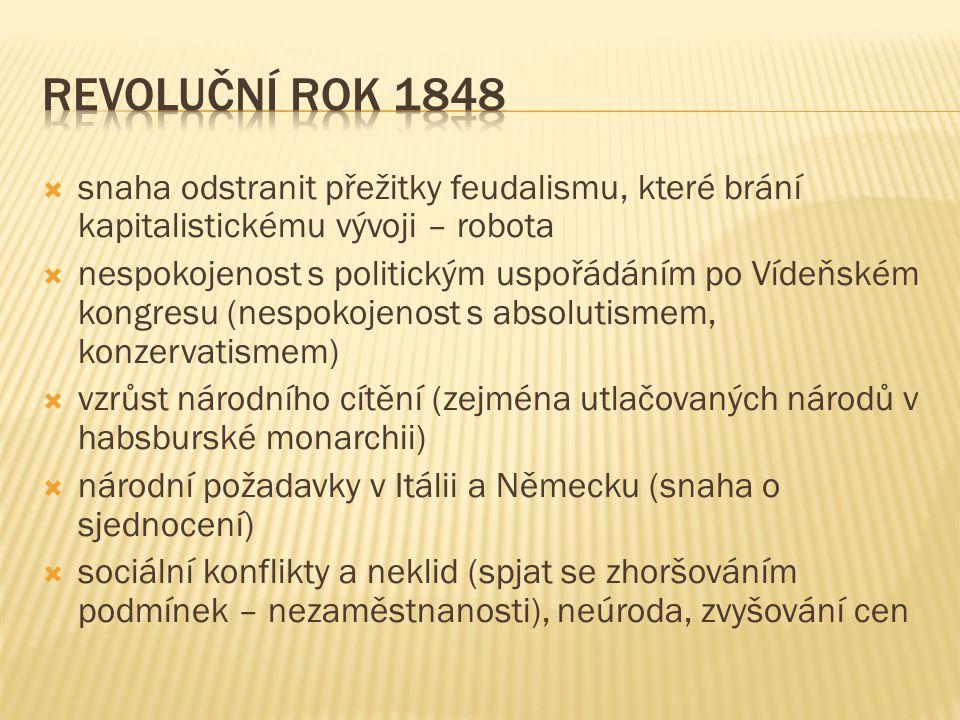  snaha odstranit přežitky feudalismu, které brání kapitalistickému vývoji – robota  nespokojenost s politickým uspořádáním po Vídeňském kongresu (ne