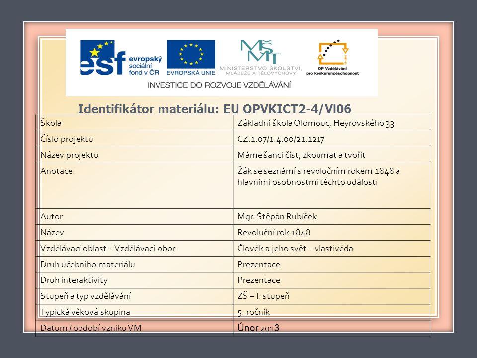 Identifikátor materiálu: EU OPVKICT2-4/Vl06 ŠkolaZákladní škola Olomouc, Heyrovského 33 Číslo projektuCZ.1.07/1.4.00/21.1217 Název projektuMáme šanci