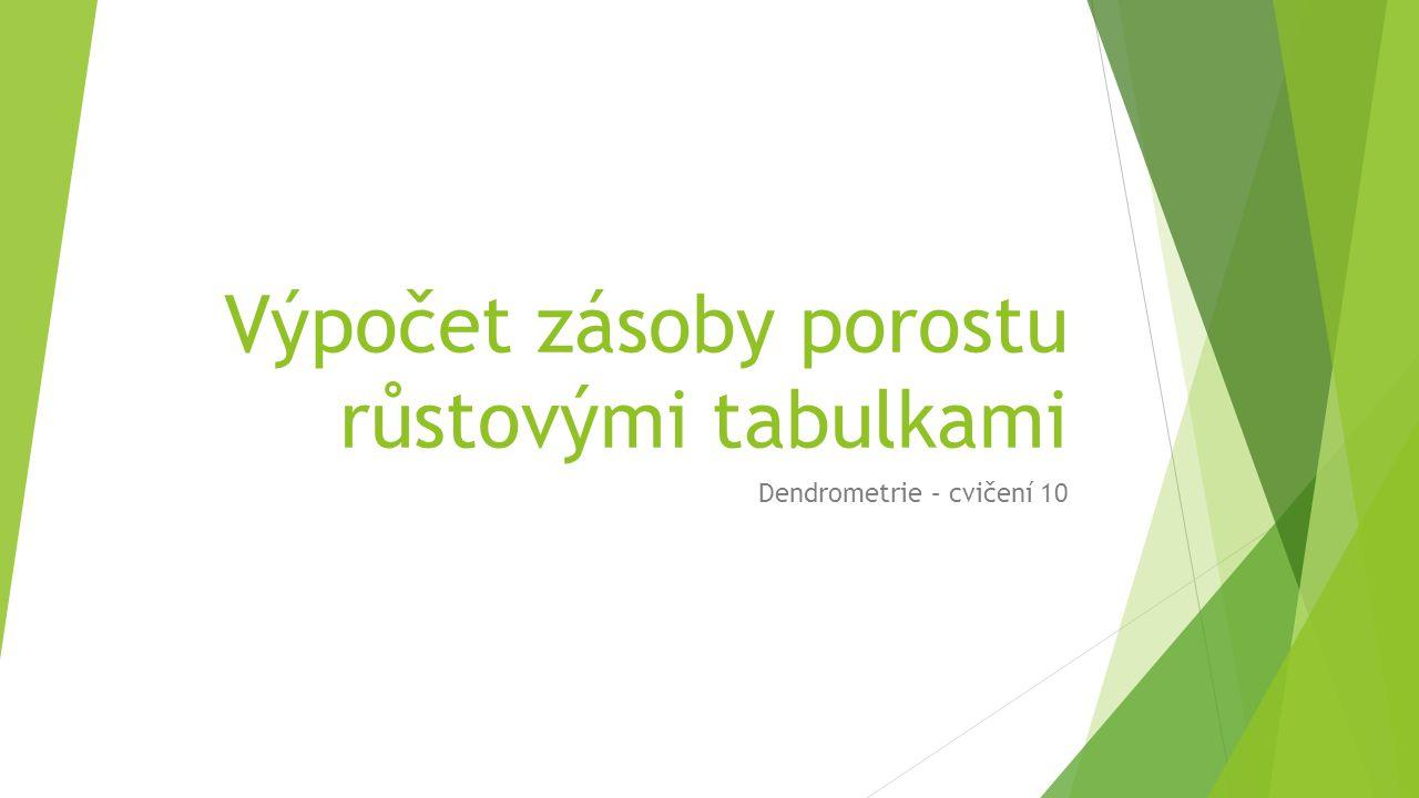 Výpočet zásoby porostu růstovými tabulkami Dendrometrie – cvičení 10