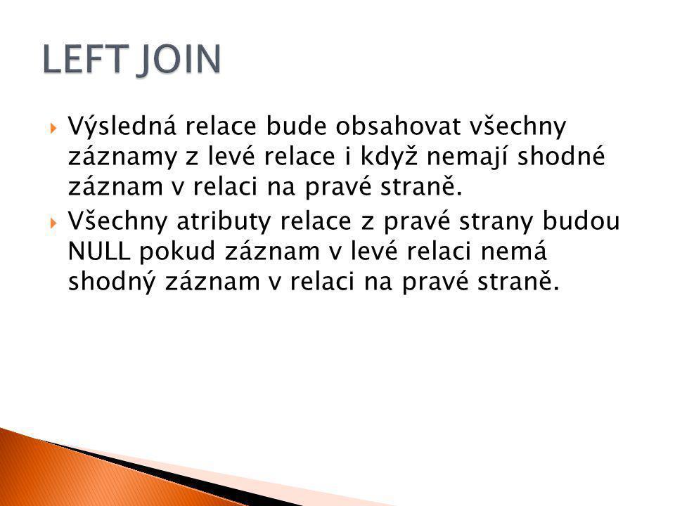  Select * from Student s LEFT Join Vyznamenani v On s.login = v.login Student LoginPříjmeníJménoVěkId_Fakulta Dra025DrábekTomáš251 Zub011ZubatáEva232 Nov098NovákBohumil281 Sip001ŠípkováRůžena182 Vid021VidlákováKateřina283 Vyznamenani LoginRok Zub0112011 Sip0012013 Zub0112012 s.Logins.Příjmenís.Jménos.Věks.Id_Fakultav.Loginv.rok Dra025DrábekTomáš251NULL Zub011ZubatáEva232Zub0112011 Zub011ZubatáEva232Zub0112012 Nov098NovákBohumil281NULL Sip001ŠípkováRůžena182Sip0012013 Vid021VidlákováKateřina283NULL