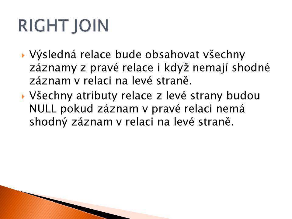  Select * from Student s RIGHT Join Vyznamenani v On s.login = v.login Student LoginPříjmeníJménoVěkId_Fakulta Dra025DrábekTomáš251 Zub011ZubatáEva232 Nov098NovákBohumil281 Sip001ŠípkováRůžena182 Vid021VidlákováKateřina283 Vyznamenani LoginRok Zub0112011 Sip0012013 Zub0112012 s.Logins.Příjmenís.Jménos.Věks.Id_Fakultav.Loginv.rok Zub011ZubatáEva232Zub0112011 Zub011ZubatáEva232Zub0112012 Sip001ŠípkováRůžena182Sip0012013