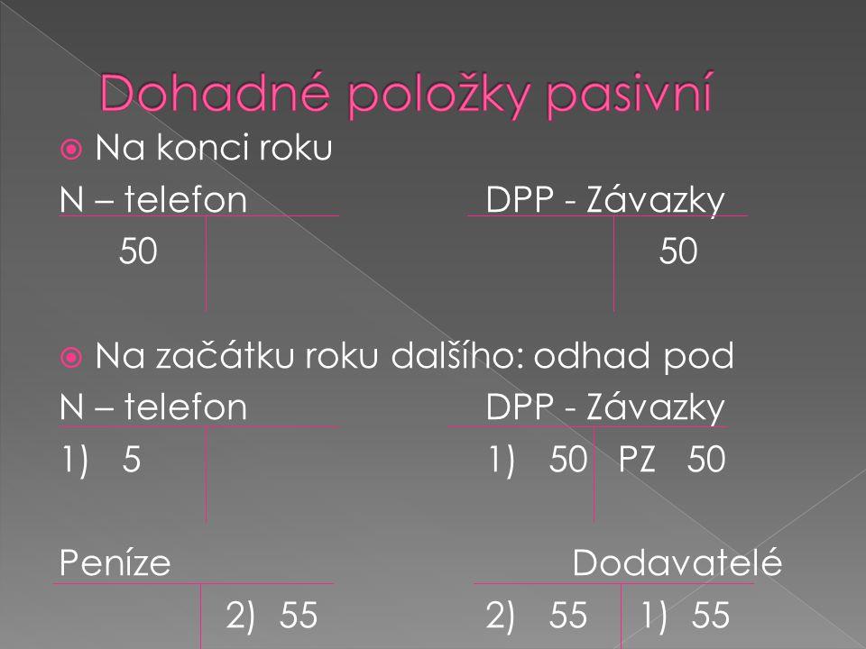  Na konci roku N – telefonDPP - Závazky 5050  Na začátku roku dalšího: odhad pod N – telefonDPP - Závazky 1) 51) 50 PZ 50 PenízeDodavatelé 2) 552) 5