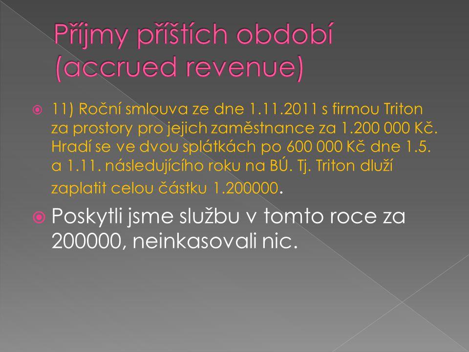  11) Roční smlouva ze dne 1.11.2011 s firmou Triton za prostory pro jejich zaměstnance za 1.200 000 Kč. Hradí se ve dvou splátkách po 600 000 Kč dne