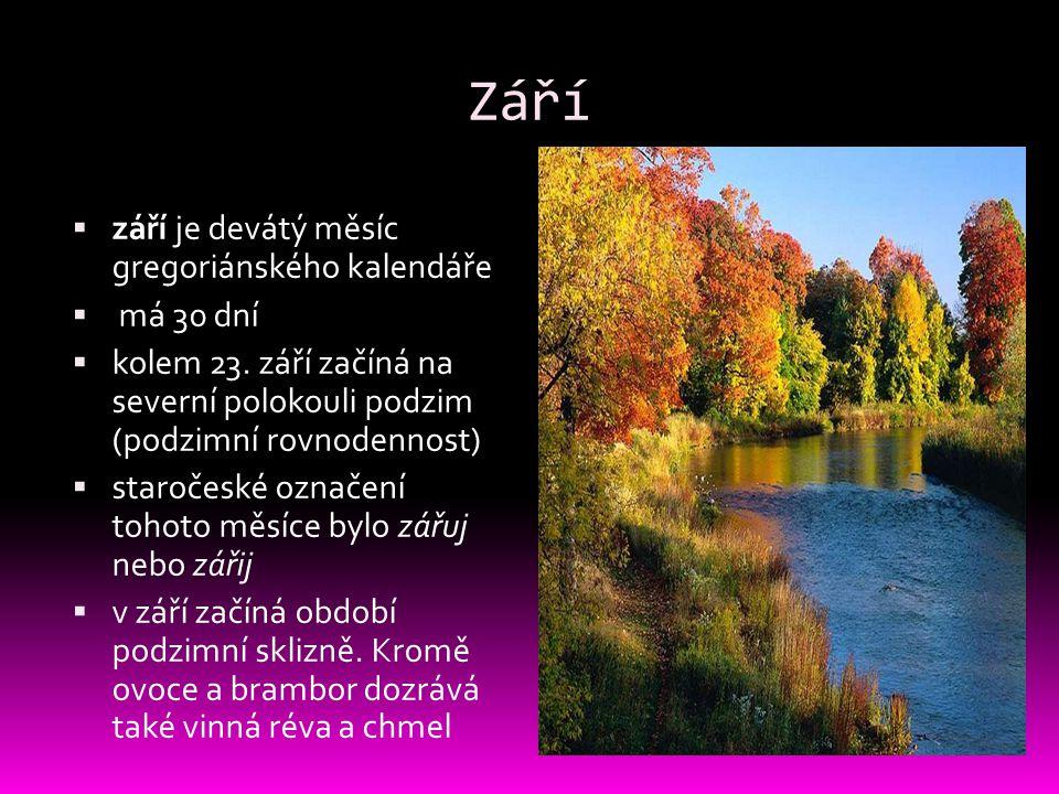 Září  září je devátý měsíc gregoriánského kalendáře  má 30 dní  kolem 23. září začíná na severní polokouli podzim (podzimní rovnodennost)  staroče