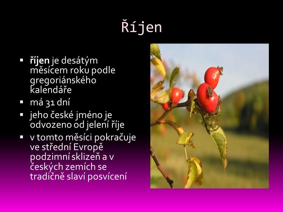 Říjen  říjen je desátým měsícem roku podle gregoriánského kalendáře  má 31 dní  jeho české jméno je odvozeno od jelení říje  v tomto měsíci pokrač